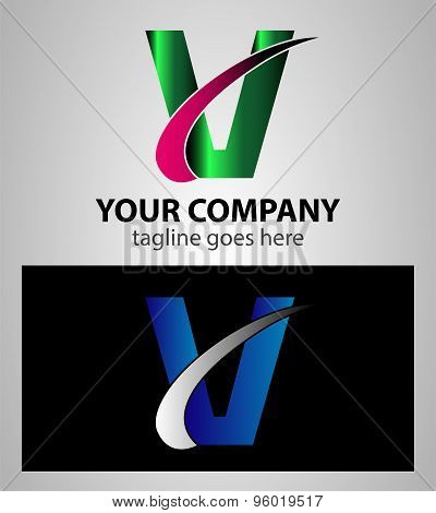 Letter V logo. Letter V logo symbol design template elements