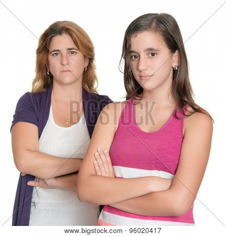 Teenage girl and her mother angry at each other isolated on white