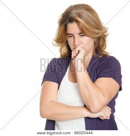 Portrait of a worried woman isolated on a white background