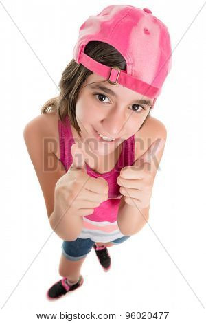 Funny teenage girl wearing a baseball cap doing a thumbs up sign, fisheye portrait isolated on white