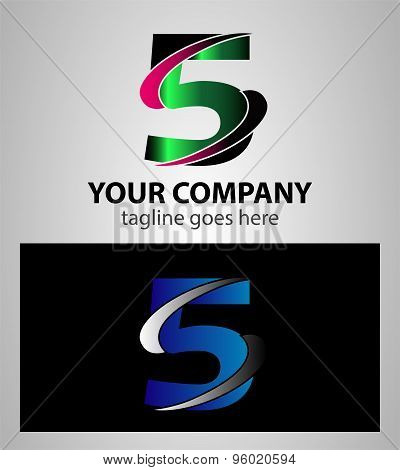 Abstract icons for number 5 logo