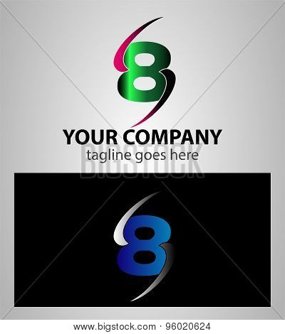 Number one 8 logo icon design template elements