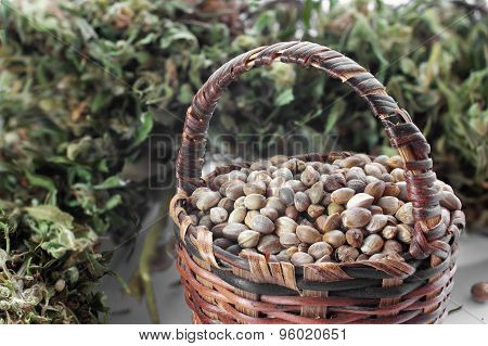 Hemp Seeds In A Small Basket