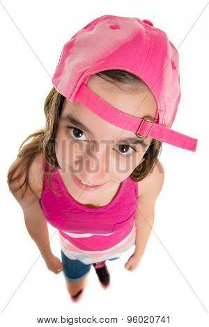 Funny teenage girl wearing a baseball cap, fisheye portrait isolated on white