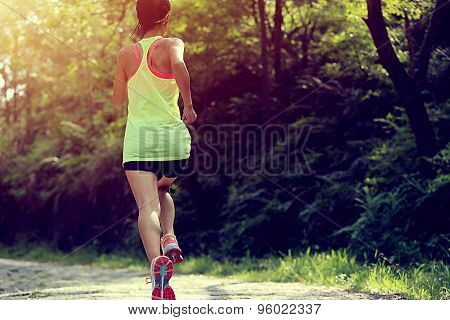 Runner athlete running on forest trail. woman fitness jogging workout wellness concept.