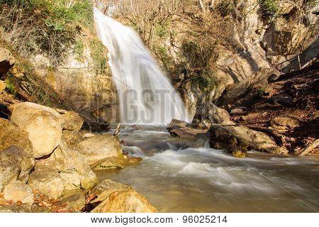 Jur-jur Waterfall In Crimea. Ukraine