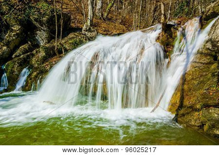 Waterfall In Crimea Mountains. Crimea, Ukraine
