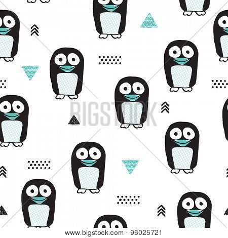 Seamless winter kids adorable penguin owl animal and geometric illustration background pattern in vector