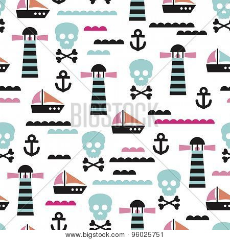 Seamless kids pirate skull and ship marine waves illustration in pink blue and coral background pattern in vector
