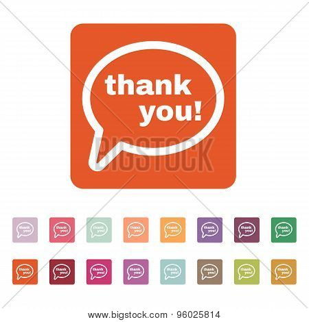 The thank you  icon. Thanks symbol. Flat