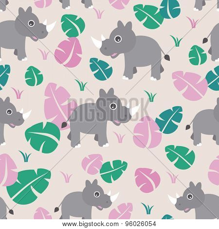 Seamless cute baby rhino kids illustration jungle animals background pattern in vector