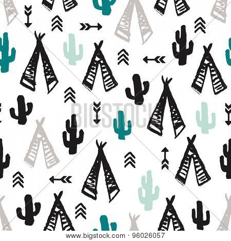 Seamless mint and teal cacti illustration indian summer adventure teepee tent camping trip theme background pattern in vector