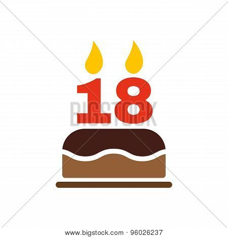 The birthday cake with candles in the form of number 18 icon. Birthday symbol. Flat