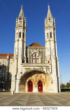 Detail of ornate gothic carvings and architecture of Jeronimos Monastery in Belem, Lisbon, Portugal