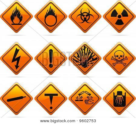 Glossy Diamond Hazard Signs