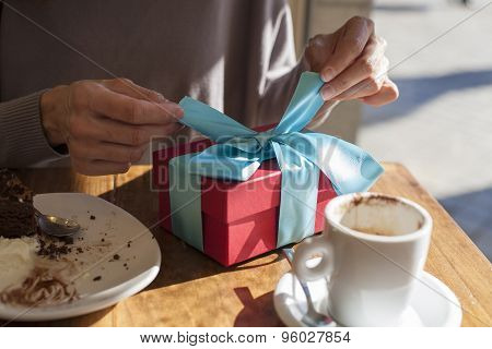 Opening Present At Cafe