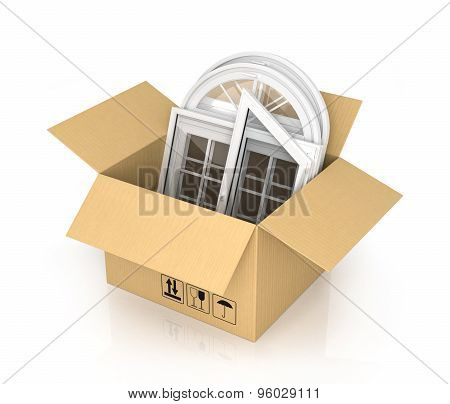 Cardboard Box With Plastic Windows Isolated On The White Background