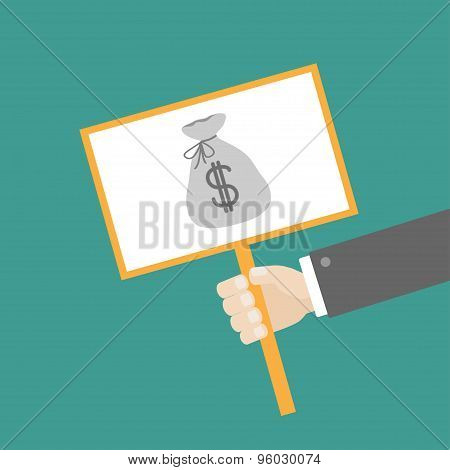 Businessman Hand Holding Paper Blank Sign Plate With Money Bag On The Stick Flat Design