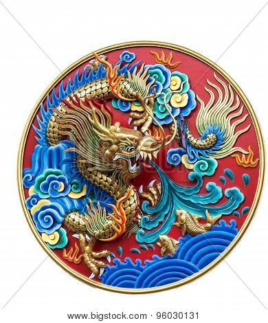 Chinese dragon wall decoration, isolated on white background