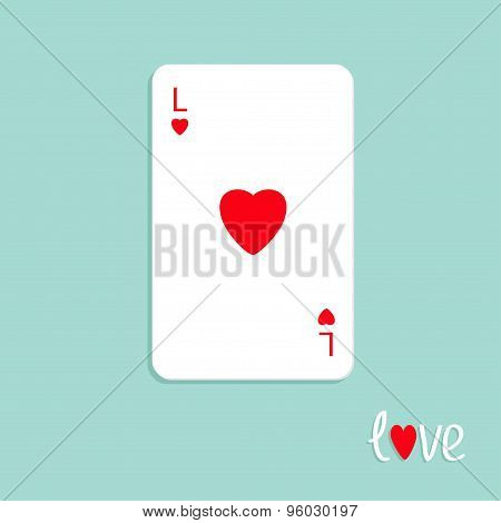 Big Poker Playing Card With Red Heart Sign Love Background Flat Design