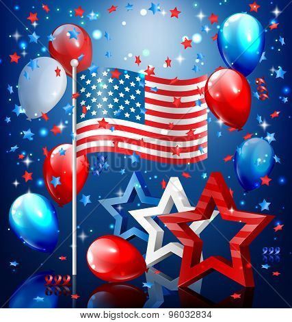Shiny Usa Celebration Independence Day Concept With Nation Flag Stars Confetti And Balloons On Blue