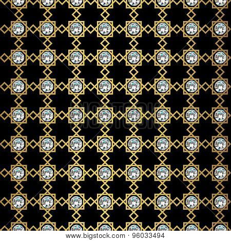 Abstract seamless geometric pattern. Monochrome black wallpaper. Geometry gold grid texture. Vintage