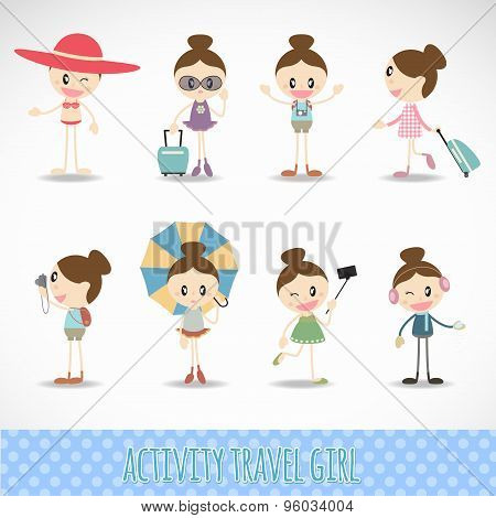 Action travel cute girl  activity set vector design