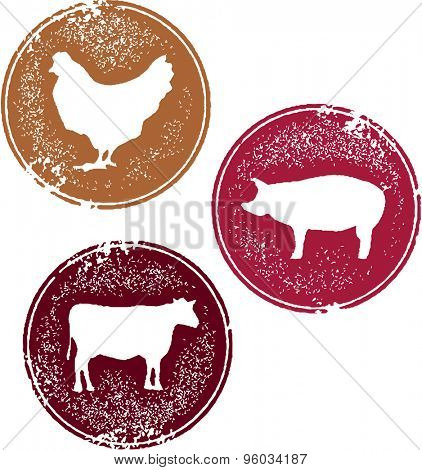 Chicken Pork and Beef Meat Stamp Designs