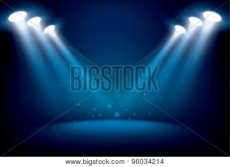 Illuminated Stage With Scenic Lights Vector Background