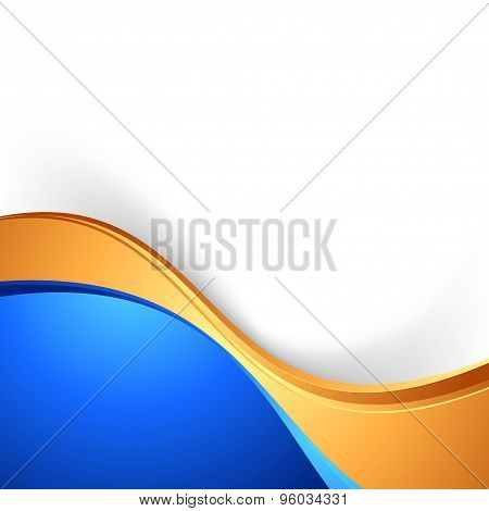 Bright Swoosh Border Abstract Blue Gold Background