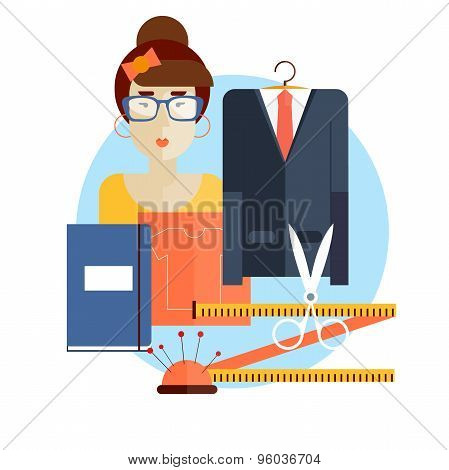 Designer clothes at the workplace. Composition in lap. Flat style vector illustration