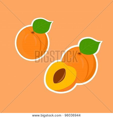 Design Stickers with Ripe Tasty Apricot.