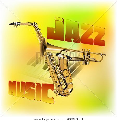 Jazz Music Background Saxophone And Trumpet