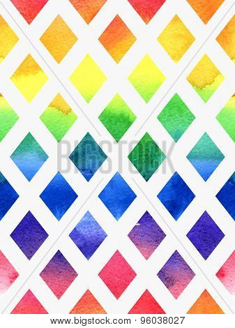 Colorful watercolor seamless geometric pattern.