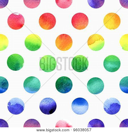 Rainbow watercolor seamless dots pattern.