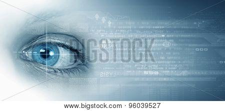 Binary stream concept background with female eye