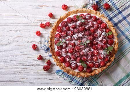 Fresh Raspberry Tart With Cream Cheese. Horizontal Top View