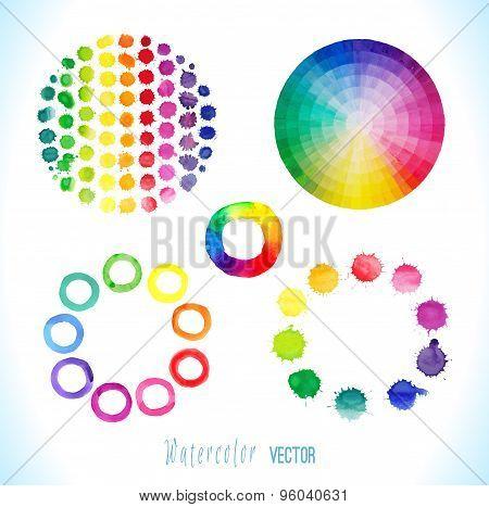 Vector watercolor splashes, circles