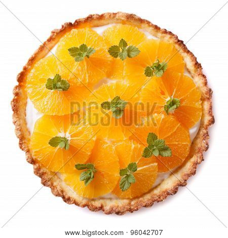 Tasty Orange Citrus Tart Isolated On White Background