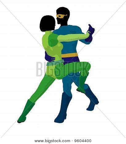 Super Hero Couple Illustration Silhouette
