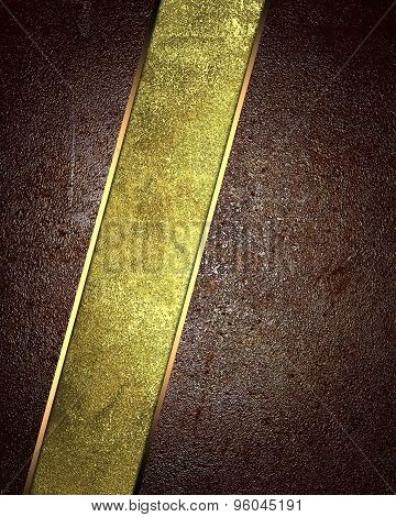 Wavy Brown Background With Gold Metal Lines. Element For Design. Template For Design. Abstract Grung