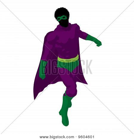 African American Super Hero Illustration Silhouette