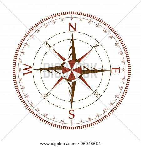 Compass dial with wind-rose.