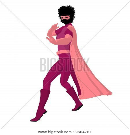 African American Super Heroine Illustration Silhouette