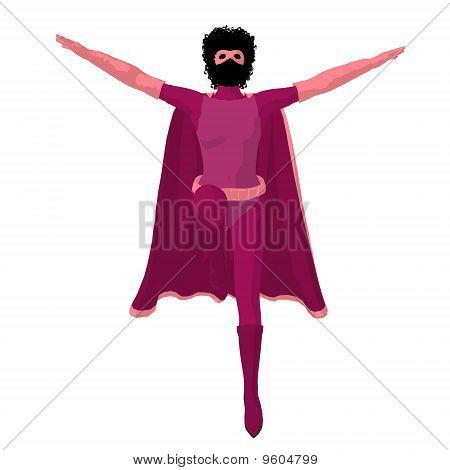 African American Super Heroine Illustration Silhouette