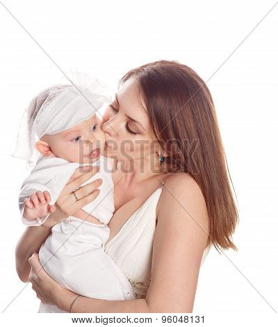 Portrait Of A Mother Kissing Her Daughter.