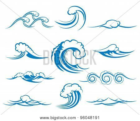Waves of sea or ocean waves, vector illustration