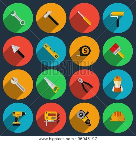 Tools flat icons set