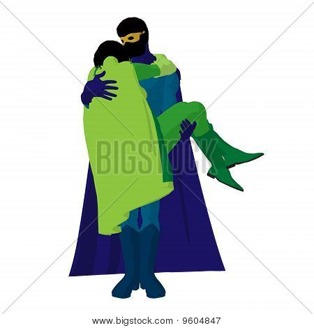 Super Hero Couple Illustration Silhouette