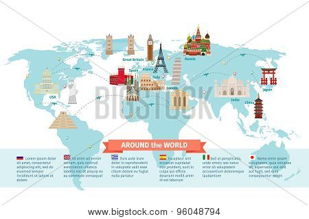 World landmarks on map